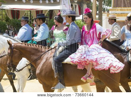 People Mounted On Horse In Fair