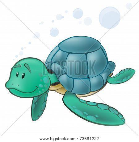 Cute Sea Turtle Character.