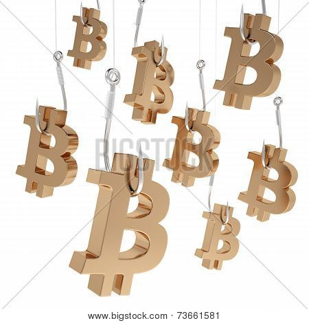 Many symbols bitcoin of gold on fishing hooks.