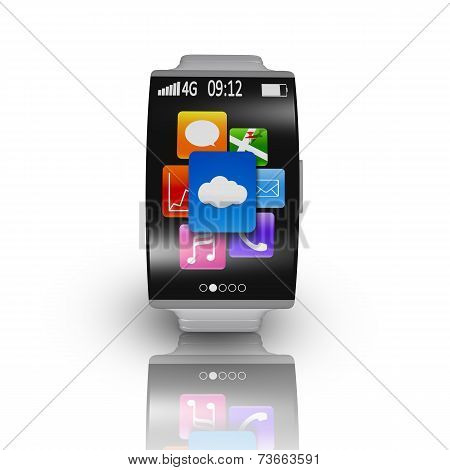 Ultra-thin Curved Screen Smartwatch With Metal Watchband