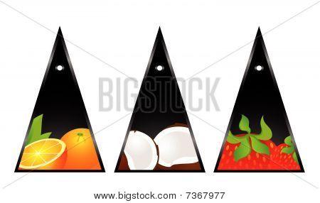 tarjetas con frutas tropicales
