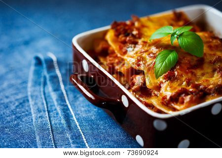 Italian Food. Lasagna Plate Close Up.