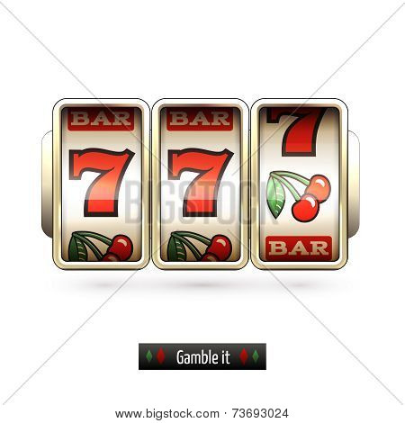 Realistic slot machine isolated