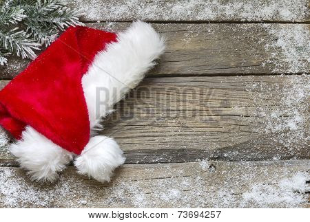 Santa Claus hat with snow abstract