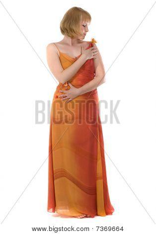 Woman In Long Red Dress