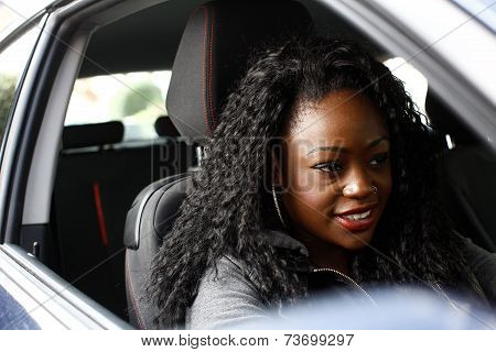 Attractive African Woman With Long Curly Hair