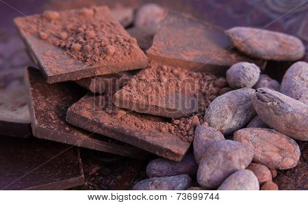 Chocolate, cocoa beans and ground cocoa.