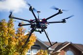 a flying hexacopter with spinning propellers and without a camera with some out of focus skies trees and houses on the background poster