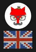 Hipster fox with the flag of Great Britain. Vector illustration. poster
