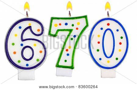 candles number six hundred seventy isolated on white background poster