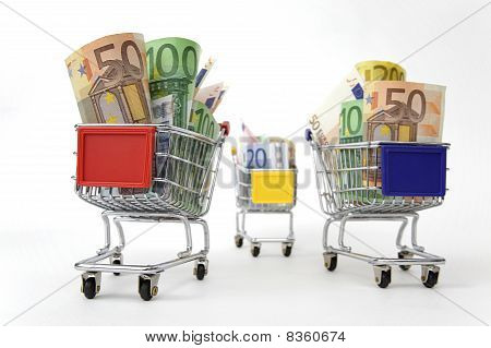 Three Shopping Carts With Money