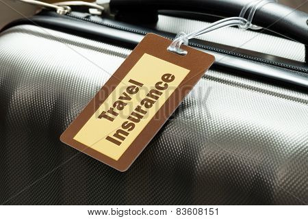 Travel insurance luggage tag tied to a suitcase poster