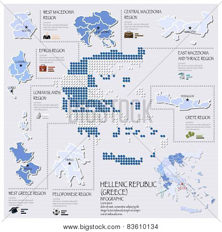 Dot And Flag Map Of Greece Hellenic Republic Infographic