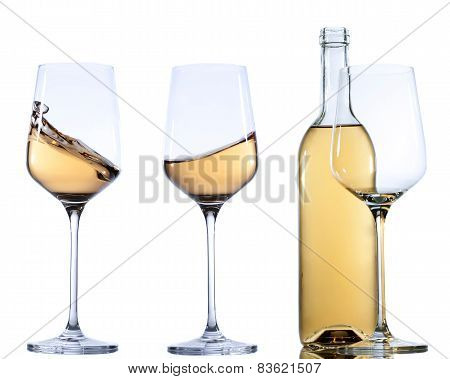 Set of glass with wine on white background.