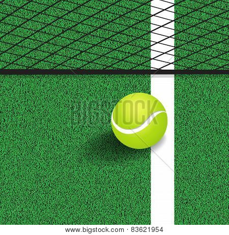 Tennis Ball Next To The Line Of The Tennis Court