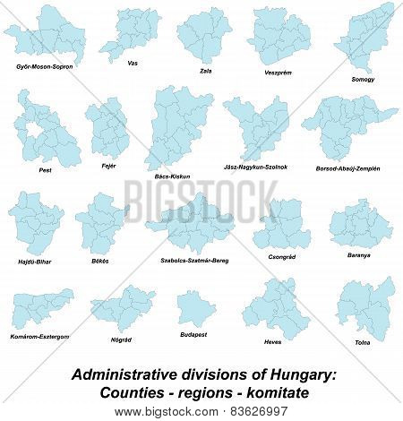 Large and detailed map of all regions and counties of Hungary poster