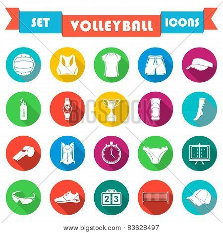 Vector Set Of Badges Volleyball
