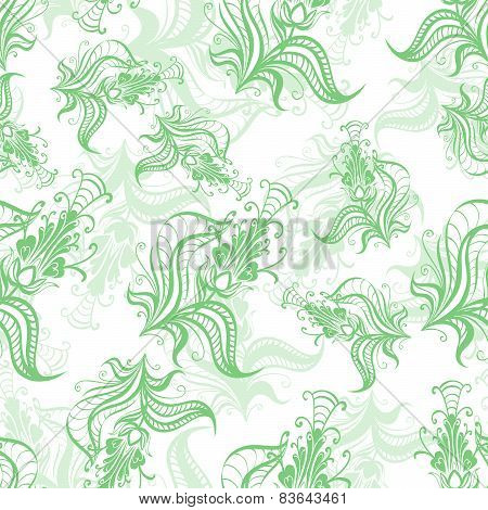 Vintage pattern of green spring flowers