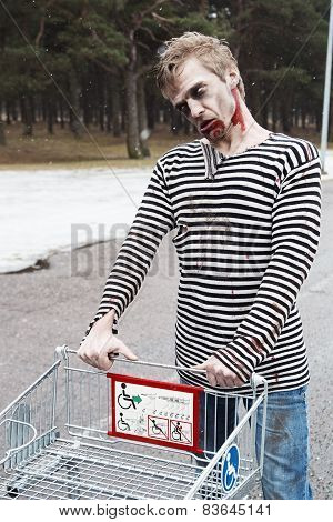 Zombie Gone Shopping For Some Horrow Movies
