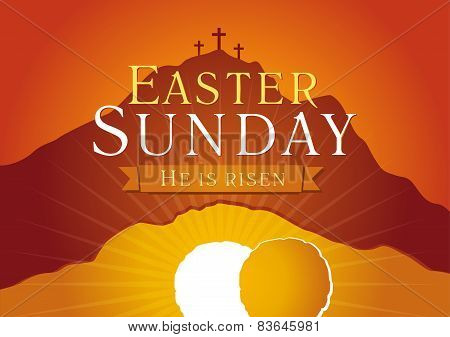 Easter Sunday, He is risen. Greetings, invite vector card. Calvary sunrise with three crosses, open lighting empty cave and stone. Religious symbol. Holy week flyer template. Bible story illustration.