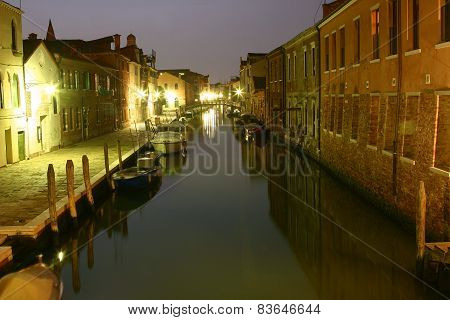 Venice Canal Route By Night