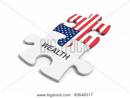Conceptual image of the link between American capitalism and the abundance of wealth. poster