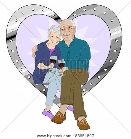 Elderly Couple Celebration