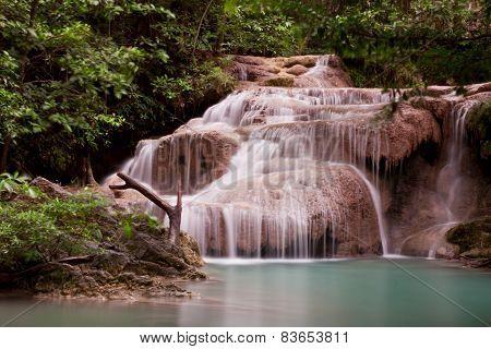 Deep Forest Erawan Waterfall National Park Waterfall In Kanchanaburi, Thailand