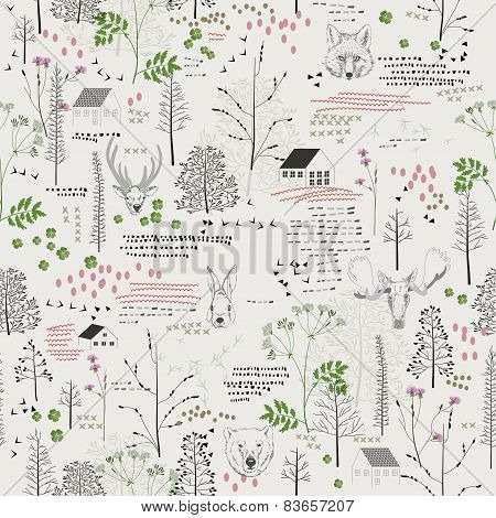 Seamless pattern with trees, shrubs, foliage, deer