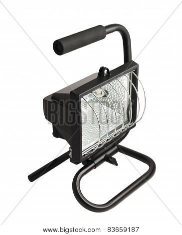 Portable halogen construction lamp with a handle isolated over white background poster