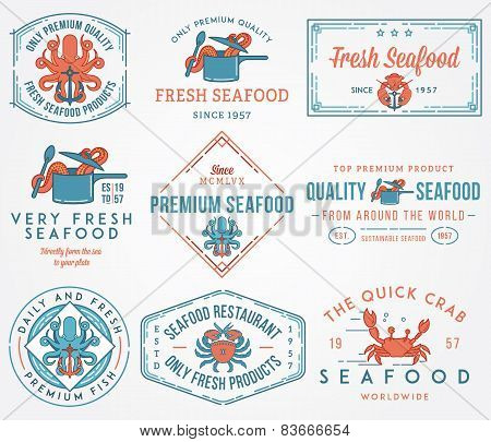 Seafood Labels And Badges Vol. 1 Colored