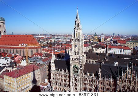 Munich spring day skyline