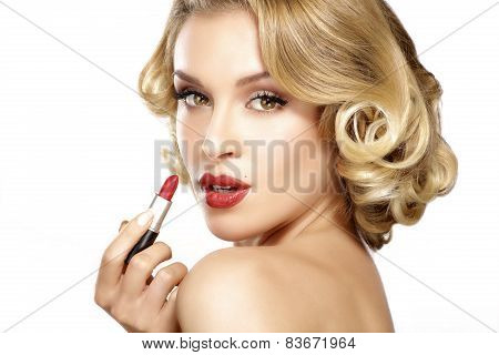 Beautiful Young Blond Model Curly Hair Applying Lipstick