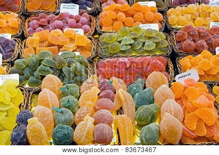 Sweets at a market stall