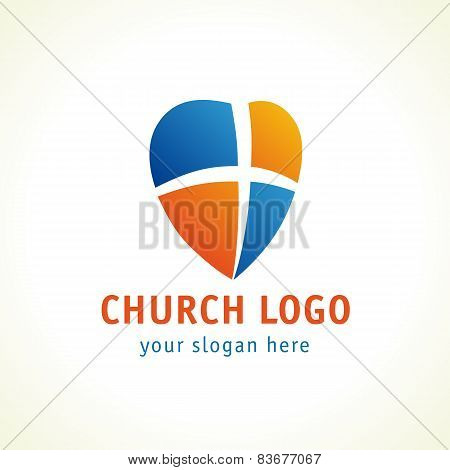 Christian church vector logo. Cross, heart and shield colorful icon. Religious symbol of gods protection. Window heart branding idea. Charity service or medical clinic template sign.