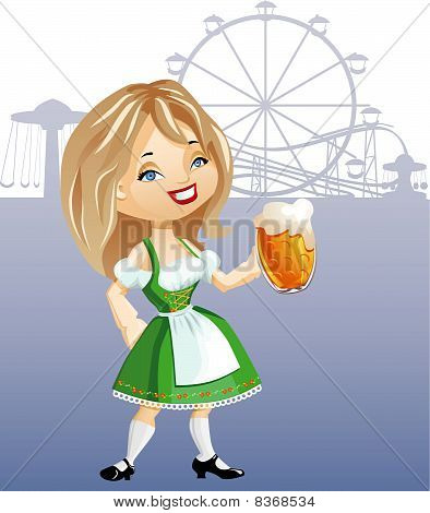 Cute Blonde Girl With Glass Of Beer, Weared In Traditional German Dress Dirndl.