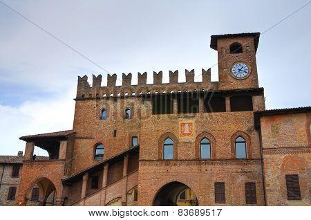 Podesta palace. Castellarquato. Emilia-Romagna. Italy.