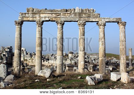 Marble columns in ancient city Apamea Syria poster