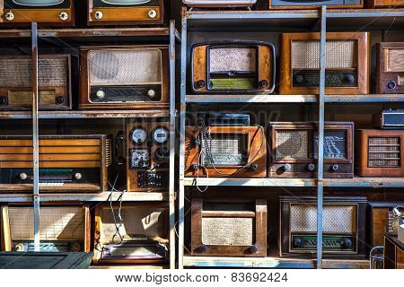 Old Radios On A Shelfs