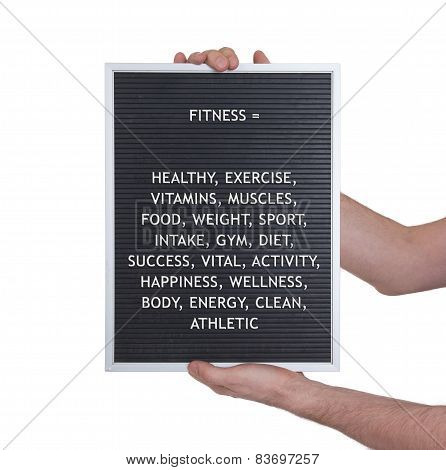 Fitness Concept In Plastic Letters On Very Old Menu Board