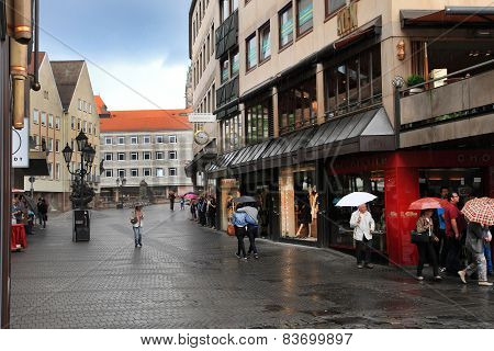 Nurnberg, Germany - July 13 2014: Rainy Day in Hauptmarkt