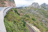 View of Sir Lowreys Pass in the Hottentots-Holland mountains near Somerset West South Africa. The old unused roalroad is visible. poster
