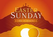 Easter Sunday, He is risen. Greetings, invite vector card. Calvary sunrise with three crosses, open lighting empty cave and stone. Religious symbol. Holy week flyer template. Bible story illustration. poster