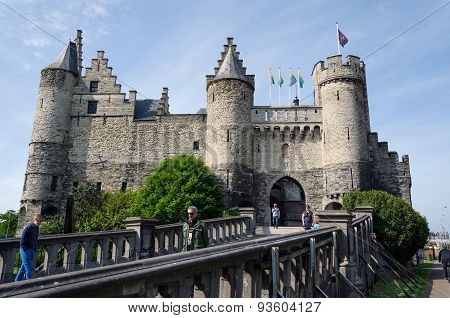 Antwerp, Belgium - May 11, 2015: People Visit Steen Castle (het Steen)