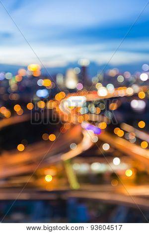Bangkok city road abstract blur bokeh light during twilight