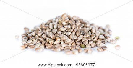 Hemp Seeds On White