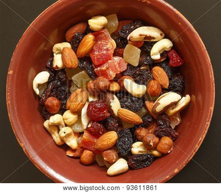 Easy and healthy snack: nuts and dried fruits poster