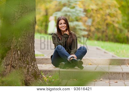 The beautiful girl in black boots