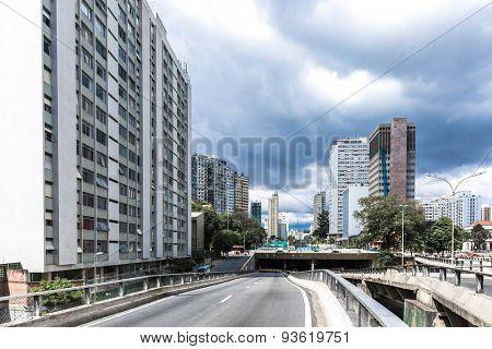 The famous Minhocao in Sao Paulo, Brazil