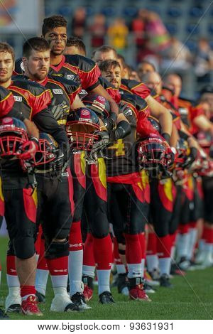 ST. POELTEN, AUSTRIA - JUNE 3, 2014: Team Germany during the national anthem before the game against Sweden during the Football EC European Championchip in St Poelten, Austria.